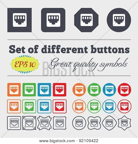 Cable Rj45, Patch Cord Icon Sign. Big Set Of Colorful, Diverse, High-quality Buttons. Vector