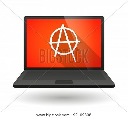 Laptop Icon With An Anarchy Sign
