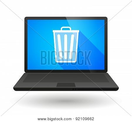 Laptop Icon With A Trash Can