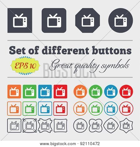 Retro Tv Icon Sign. Big Set Of Colorful, Diverse, High-quality Buttons. Vector