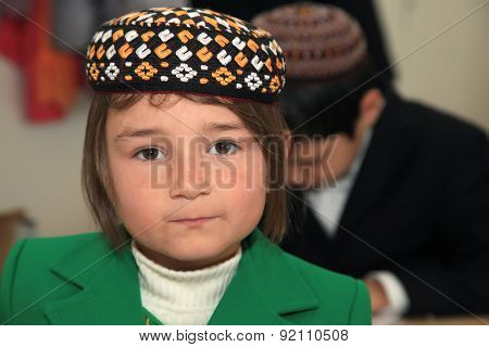 Ashgabad, Turkmenistan - November 4, 2014. Portrait Of An Unknown Schoolgirl In The Classroom.  Nove