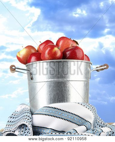 Pail filled with red apples and dishcloth on sky background