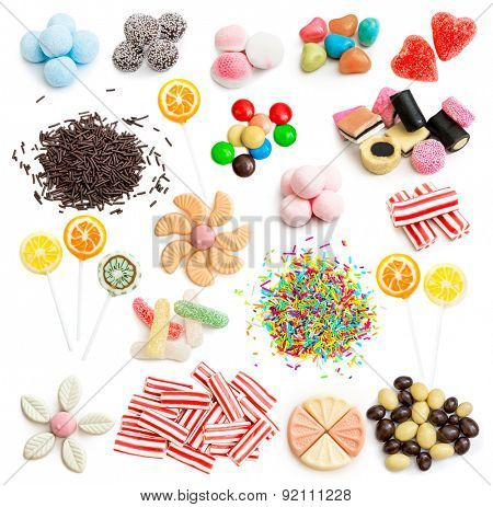 Collage of colorful assorted candy isolated on white background