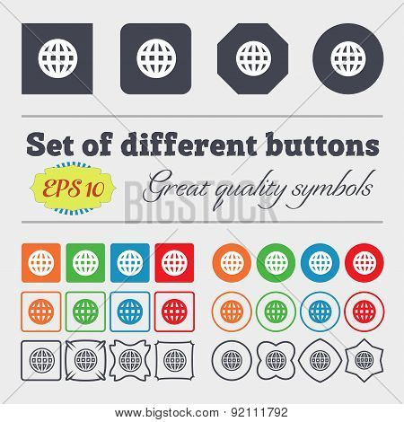 Globe, World Map Geography Icon Sign. Big Set Of Colorful, Diverse, High-quality Buttons. Vector