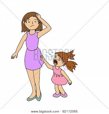 Stressed Mom And Little Girl Crying