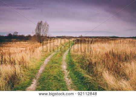 Rural Countryside Road In Autumn Season