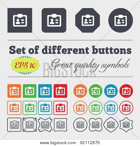 Id,  Identity Card Icon Sign. Big Set Of Colorful, Diverse, High-quality Buttons. Vector
