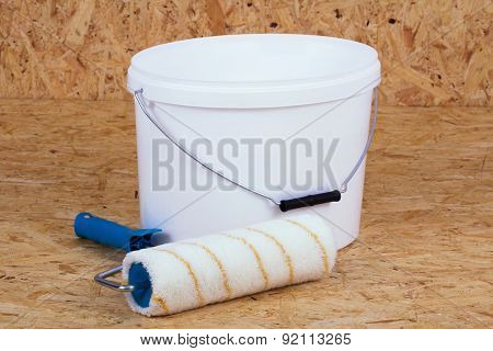 Paintroller And Paint Bucket