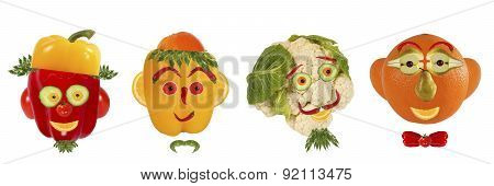 Creative Set Of Food Concept. A Few  Funny Portraits From Vegetables And Fruits