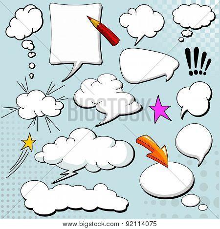 Comics style speech bubbles / balloons on yellow background
