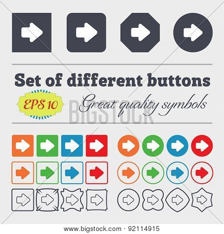 Arrow Right, Next Icon Sign. Big Set Of Colorful, Diverse, High-quality Buttons. Vector