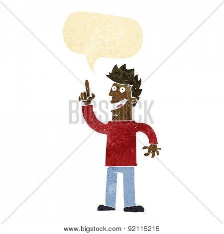 cartoon man with great new idea with speech bubble