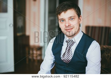 Handsome Caucasian Man Staying In Room