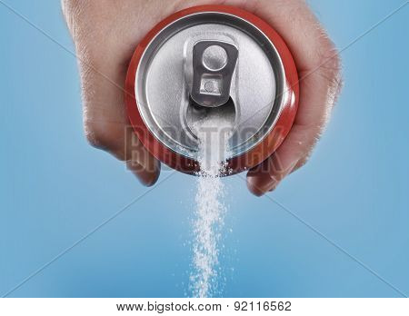 Hand Holding Soda Can Pouring A Crazy Amount Of Sugar In Metaphor Of Sugar Content Of A Refresh Drin