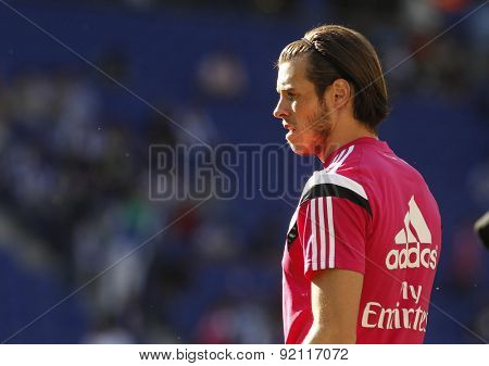 BARCELONA - MAY, 17: Gareth Bale of Real Madrid before a Spanish League match against RCD Espanyol at the Power8 stadium on Maig 17 2015 in Barcelona Spain