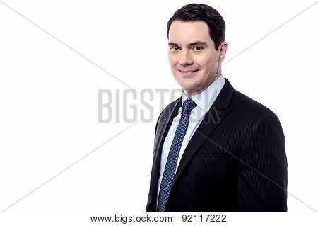Handsome Businessman Over White