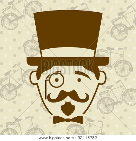 hipster design over pattern background vector illustration