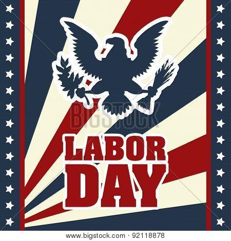 labor day over flag  background vector illustration