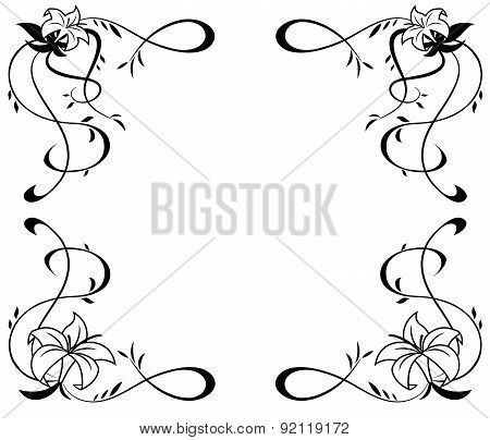 Frame With Lily Flowers Black Silhouette