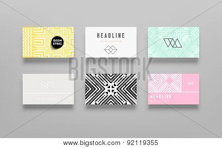 Set of Vintage Hipster Labels, Logo, Frames, Geometric Pattern and Cards. Vector Design Templates Collection for Banners, Flyers, Placards and Posters. Retro Backgrounds.