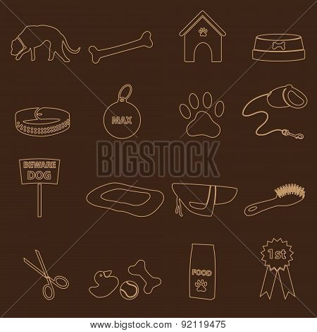 Dog Theme Simple Outline Icons Set Eps10