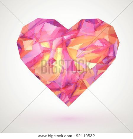 Glossy pink heart on pink background