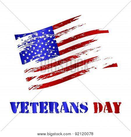 American Damaged Flag And Veterans Day Celebration Eps10