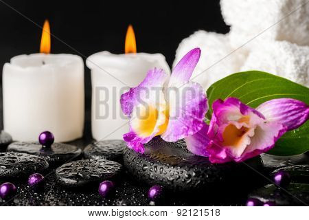 Spa Still Life Of Purple Orchid Dendrobium, Leaf With Dew, Towels, White Candles And Pearl Beads  On