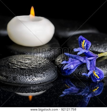 Beautiful Spa Concept Of Blooming Iris Flower, Candles And Black Zen Stones On Reflection Water, Mac