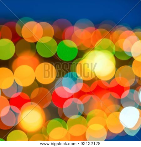 Big Abstract Xmas Circular Lights Bokeh Background, Closeup