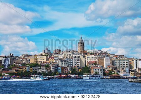 Aerial view of the Karakoy skyline, Istanbul, Turkey
