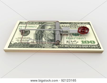 Mail And Mouse Trap From 100 Dollar Bill Bundle, Render On White