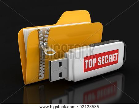Folder with zipper and USB flash Top Secret