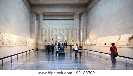 LONDON, UK - NOVEMBER 30, 2014: British museum exhibition hall. Ancient Greek collection of Pantheon