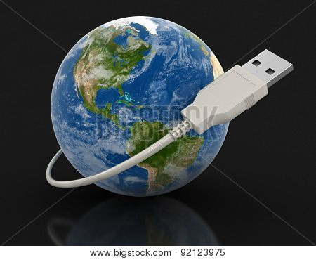 Globe and USB Cable (clipping path included)