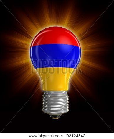 Light bulb with Armenian flag (clipping path included)