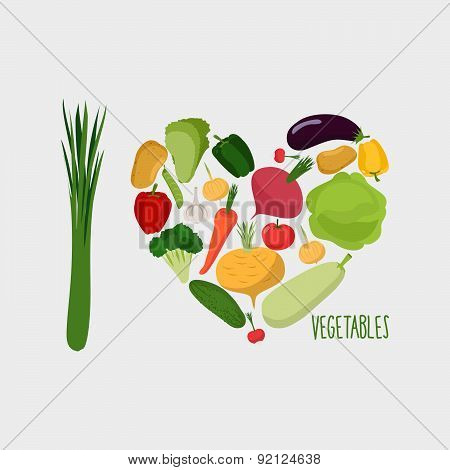 Heart of vegetables. I love vegetables. Concept of a healthy diet. Vector illustration