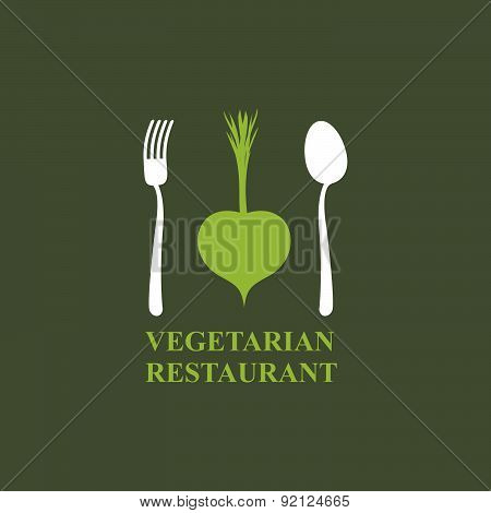 Logo for vegetarian restaurants or cafes. Cutlery: fork and spoon and radish.