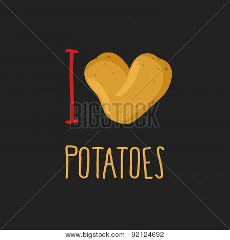 I love potatoes. Heart of ripe potato. Vector illustration
