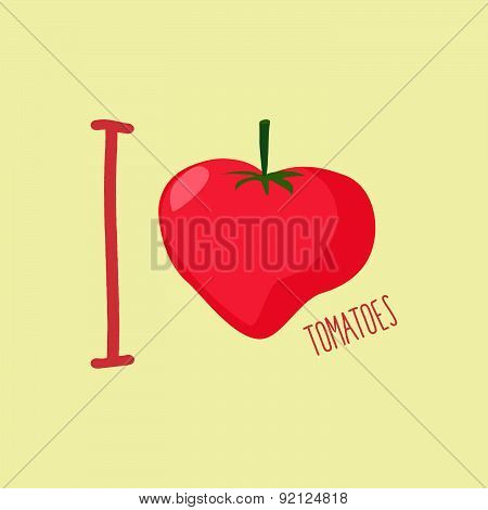 I love tomatoes. Heart of red tomatoes. Vector illustration