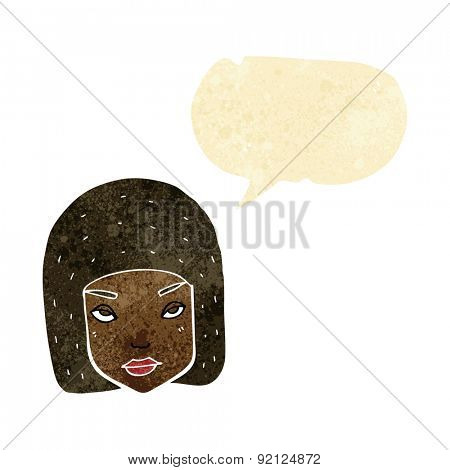 cartoon annoyed female face with speech bubble