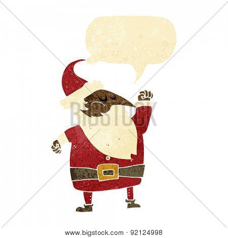 cartoon santa claus punching air with speech bubble