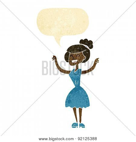 cartoon woman with raised arms with speech bubble