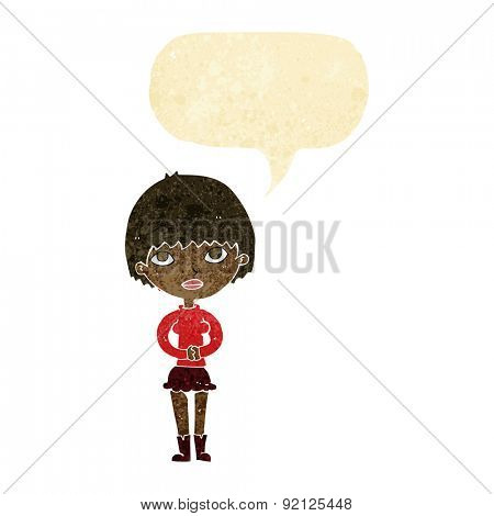 cartoon woman waiting patiently with speech bubble