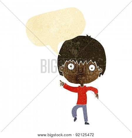 cartoon impressed boy pointing with speech bubble