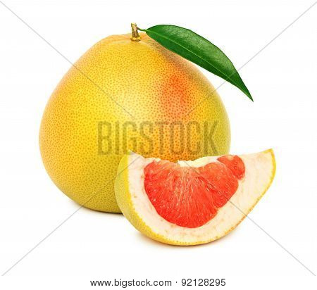 One Whole Red Pomelo With Green Leaf And Slice (isolated)