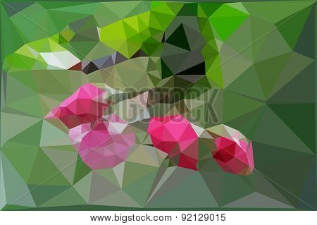 Low poly background with bud apple