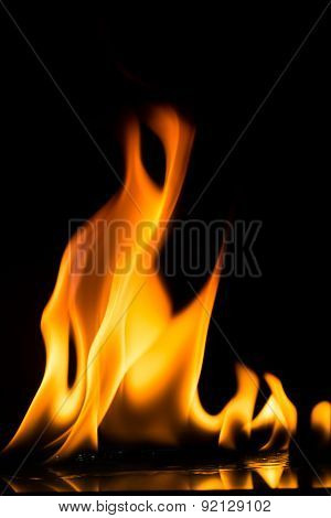 Fire flames on dark background