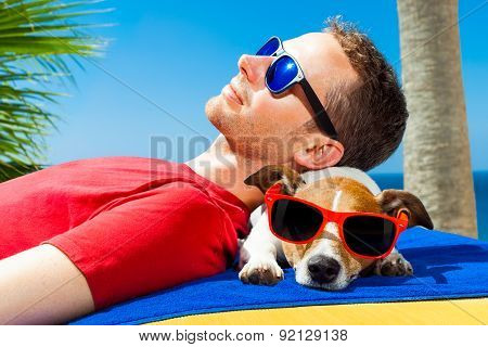 Dog And Owner Siesta