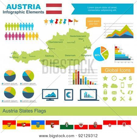 Austria Infographic Elements  Include:High detailed map of Austria and complete provincial flags